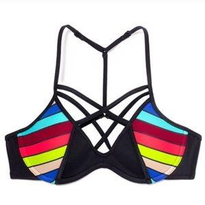 VSpink Black & Neon Strappy Bikini Top With T-Back